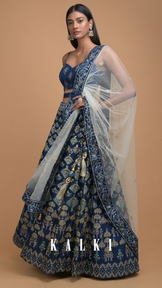 Yale Blue Lehenga With Foil Printed Buttis And Chandelier Motifs Online - Kalki Fashion Blue Lehenga, Side Braid Hairstyles, Dramatic Eyes, Braided Hair, Indian Designer Wear, Indian Dresses, Indian Wear, Traditional Outfits, Contemporary