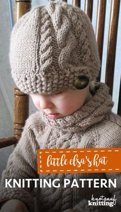 A beautiful cable design is the feature of this knitted hat. This knitted hat pattern is a seamless knit, and come in sizes newborn to adult! The matching sweater is Little Elsa's Sweater, click through to get the patterns from KnotEnufKnitting.