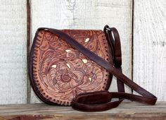 Juan Antonio Saddle Brown Tooled Leather Shoulder Bag with Ivory Inlay