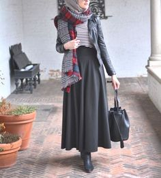 elegant hijab skirt outfit