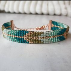 """Lovely green rose gold bracelet! ☀️☀️☀️"" Beaded Cuff Bracelet, Bead Loom Bracelets, Bohemian Bracelets, Bohemian Jewelry, Handmade Jewelry, Jewelry Shop, Etsy Handmade, Loom Beading, Boho Hippie"