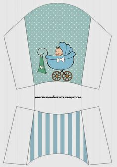 Cochecito Celeste de Bebé: Cajas para Imprimir Gratis.