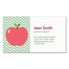 Cute Apple Green Chevron Nutrition Business Card