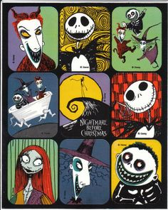 Vintage Nightmare Before Christmas Tim Burton Sticker Sheet Nightmare Before Christmas Characters, Nightmare Before Christmas Wallpaper, Tim Burton Art, Tim Burton Films, Tim Burton Characters, Jack Skellington, Arte Indie, Jack The Pumpkin King, Christmas Stickers