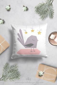 This cute Christmas themed bird throw pillow is available at Otto and Pixels on Etsy! The gold details bring your room an extra splash of cuteness. The kids thow pillow is printed on both sides. Click to go the listing!  #birdpillow #christmasdecor #throwpillow #kidsroom #toddlergift #newbabygift #birddecor #nurseryinspo