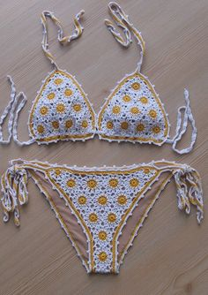 EXPRESS CARGO!!! Crochet Yellow-White Full Lined Sexy Bikini, Women Swimwear…
