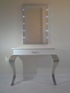 White Gloss Mirror Styling Stations See website for prices. (Salon Furniture, White Salon Furniture, Contemporary, Boudoir, 'Shabby Chic, Vintage or Gothica furniture. Salon Mirrors, Dress Out Mirror Styling Stations Hairdressing Furniture, Barber Furniture, Beauty Furniture, Mirrors. Salon Workstations, Queen Anne Legs, Console Units, Black, Silver, Light Bulb Mirrors, Light Up Mirrors, how to design a salon, beautiful salon, high end style, salon owners tips, help and advise)