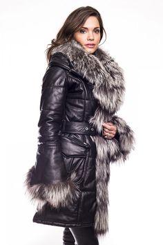 Doudoune cuir et fourrure renard Shana noir By Ora