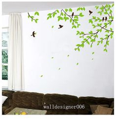 Tree wall decal wall sticker Nature room decor Birds decal wall decor wall Art Baby nursery decal mural -tree branches with birds Tree Decal Nursery, Tree Decals, Flower Wall Decals, Baby Wall Art, Mural Wall Art, Wall Art Decor, Room Decor, Diy Wall Painting, Wallpaper Decor
