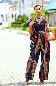 Rock the Latest Ankara Jumpsuit Styles these ankara jumpsuit styles and designs are the classiest in the fashion world today. try these Latest Ankara Jumpsuit Styles 2018 African Fashion Designers, African Inspired Fashion, African Print Fashion, Africa Fashion, Ethnic Fashion, Fashion Prints, African Print Dresses, African Wear, African Attire