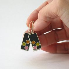 Sterling Silver and Resin Dangle Earrings in Orange by ajcdesign, $55.00