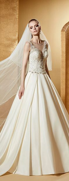 Shining Tulle & Satin Scoop Neckline A-Line Wedding Dresses With Beadings