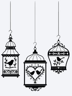 BIRD CAGE Vinyl Decal * Wall Decal * Heart * Picture Frame  * Window Decal * Love * Valentine * Romantic * Birds * Coffee Mug * Yeti * Ipad by ATIMETOCUT on Etsy