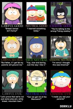 Awful Good: South Park Alignment Chart - Dorkly Article