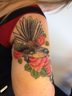 Fantail on Pohutakawa tree tattoo, like the idea but would love to add a silver fern and pau shell with a banner!