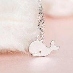 SALE  Silver Baby Whale Necklace Fish Animal Charm by matoto, $12.00