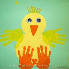 Handprint Baby Chick Craft and a bunch of other farm animal hand and foot print craft.  Great answered