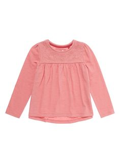 Crafted in cotton, this embroidered top will make a perfect addition to her casual wardrobe. Pair it with leggings and ballet flats for a complete look.  Pink embroidered top Embroidered pattern Crew neck Long sleeves Keep away from fire