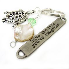 Sea Turtle Keychain Shell and Turtle Keyring by EarthlieTreasures