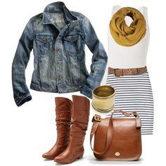 Black and white striped skirt, white tank, denim jacket, leather belt, boots