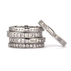 SusanB.flawless Simulated Diamond Set of 5 Rings Sterling Silver Item # R1NDXX $99.00 Stacking, ...