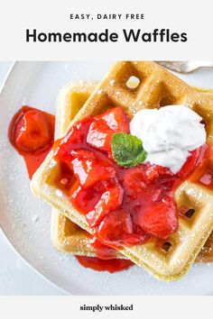 The BEST homemade waffles made from scratch - This easy recipe is made without milk or butter. The waffles are totally dairy free and still super fluffy and crispy on the outside. No Milk French Toast, Homemade Waffles, Homemade Recipe, Homemade Waffle Recipe Without Milk, Waffle Recipe Without Baking Powder, Easy Waffle Recipe No Milk, Dairy Free Waffles, Dairy Free Frosting, Crispy Waffle