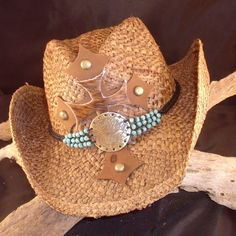 Brown Straw Cowboy Hat with Leather Crosses and by chickstudios, $78.50