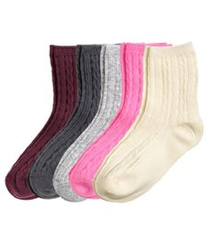 5-pack Cable-knit Socks   Neon pink   Kids   H&M US