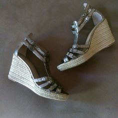 "Franco Sarto wedges 4"" heel with a 1"" platform.  Cute espadrille detail wraps around the wedge and straps are in grey reptile texture.  All the straps are adjustable. Heels don't even look like I've worn them.  Leather upper. You know you want these!! EUC  {20% off bundles of 2 + listings} Franco Sarto Shoes Wedges"