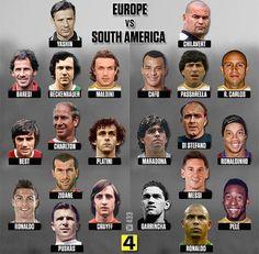 Europe v South America Brazil Football Team, Real Madrid Football, Best Football Players, Football Records, Football Jokes, Football Soccer, Classic Football Shirts, Retro Football, Football Match