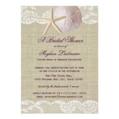 Lace and Sand Dollar Beach Bridal Shower Card