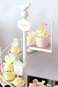 Little Bird Birthday Cupcakes via Kara's Party Ideas | KarasPartyIdeas.com