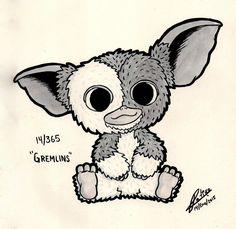 - Gremlins by Yei-Pi on DeviantArt Bird Drawings, Art Drawings Sketches, Cute Drawings, Gizmo Tattoo, Gremlins Gizmo, Stoner Art, Goth Art, Cartoon Art Styles, Disney Tattoos