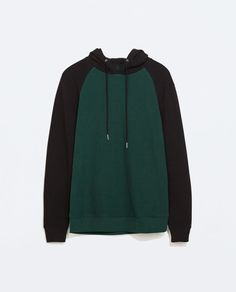 bottle green and grey marl TWO-TONE HOODIE from Zara REF. 1701/317