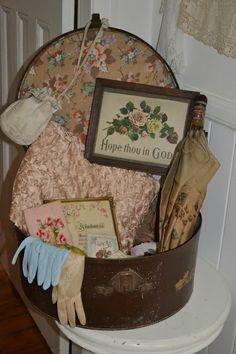 Gorgeous vintage display in a hatbox
