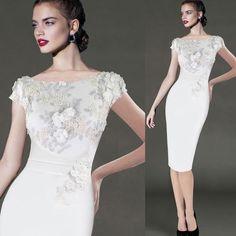 Elegant Floral Applique Pencil Bodycon Dress