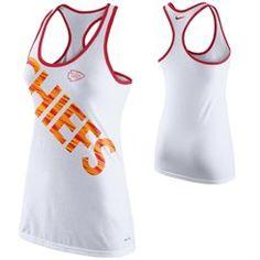 Nike Kansas City Chiefs Ladies Warp Dri-Blend Performance Tank Top - White