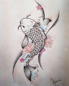 110 Best Japanese Koi Fish Tattoo Designs and Drawings - Piercings Models Japanese Koi Fish Tattoo, Koi Fish Drawing, Fish Drawings, Tattoo Drawings, Tattoo Ink, Arm Tattoo, Koi Tattoo Design, Tattoo Designs, Koi Art