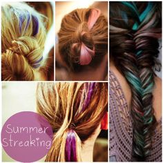 summer color hair streak. i like the pink one.