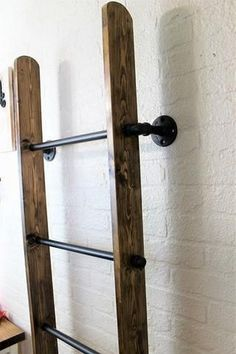 Industrial Metal and Wood Wall Ladder Blanket Ladder - Modern Old Ladder, Wooden Ladder, Ladder Decor, Wood Blanket Ladder, Quilt Ladder, Blanket Rack, Blanket On Wall, Blanket Storage, Ladder Towel Racks