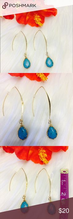 "18k Turquoise Natural Stone Fish Hook Teardrop Simple And Trendy, These Turquoise Colored Natural Stone Drop Earrings Are Sure To Bring A Ton Of Compliments Your Way!!! Fish Hook Backs That Are 18k Gold Plated. Perfect For Sensitive Ears. Measuring Approx 3"" Flat From Top To Bottom. Stone Is Approx 1"" In Length. Boutique Jewelry Earrings"