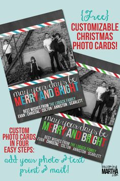 These free printable christmas cards are a great download this year! You can download the cards in two color schemes and learn how to fully customize them!