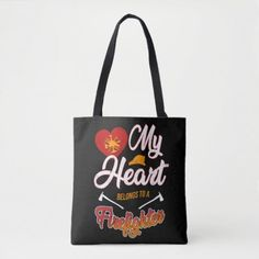 My Heart Belongs To A Firefighter Wife Thin Red Tote Bag my firefighter, firefighter retirement gifts, funny firefighter #fireservice #ff #firewife, christmas decorations, thanksgiving games for family fun, diy christmas decorations