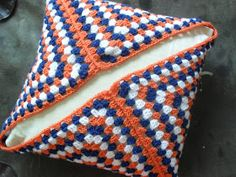 Knitting on Trains: Crochet Granny Square Cushion Cover