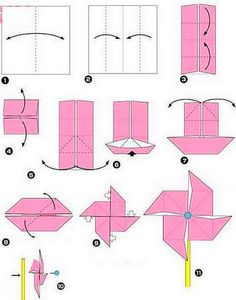 How to fold an origami windmill.