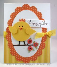 Stampin' Up! SU by Sharon Durkert, As The Ink Dries (easter craft) Tarjetas Stampin Up, Stampin Up Cards, Easter Projects, Easter Crafts, Punch Art Cards, Paper Punch, Kids Cards, Creative Cards, Greeting Cards Handmade