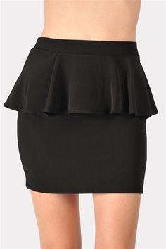 black peplum skirt.