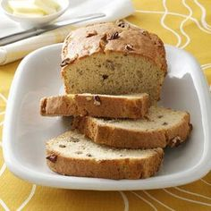 Easy Banana Nut Bread Recipe -A yellow cake mix streamlines assembly of this moist golden bread. I searched a long while for a banana bread that was easy to make. This one takes no time at all, and makes two loaves. Nut Bread Recipe, Easy Bread Recipes, Cake Mix Recipes, Banana Bread Recipes, Quick Bread, Yummy Recipes, Recipies, Cooking Recipes, Banana Nut Bread Easy
