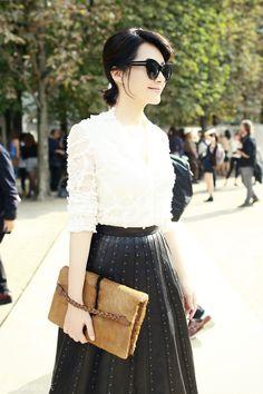 October 21, 2015 - Embellished leather high waist skirt & Fur handbag