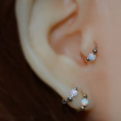 Tragus Earring 18g - Gold Nose Ring - 3mm White Opal Tragus Hoop - Forward Helix Earring - Cartilage Earring - Rook Piercing - Conch Earring